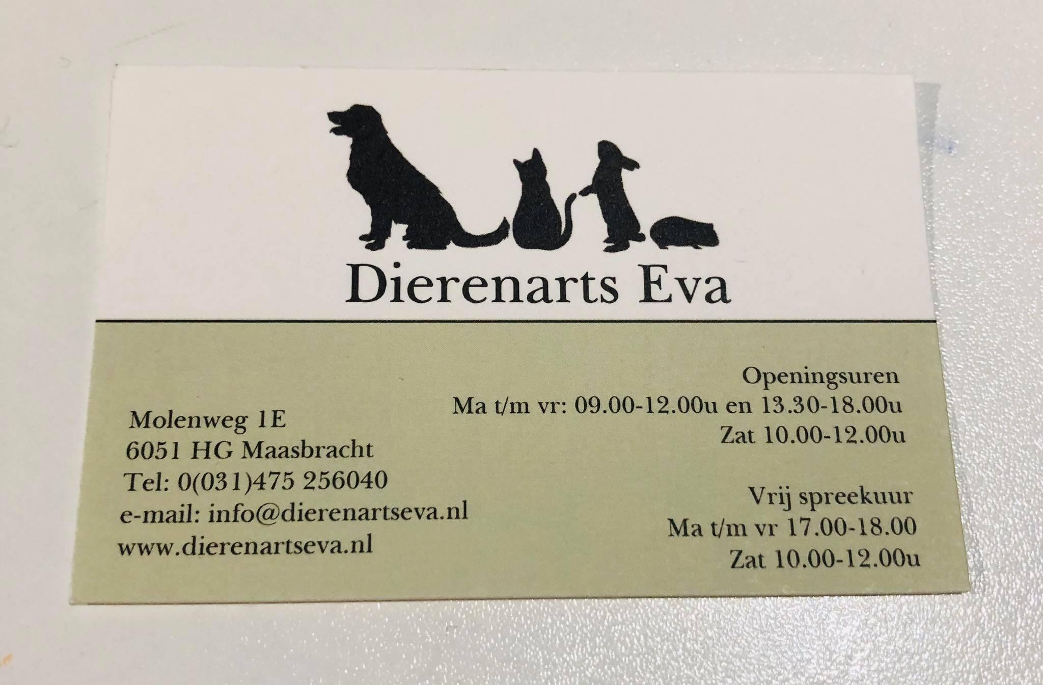 Dierenarts Eva - visitekaartje